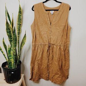 • OLD NAVY • tan khaki button down plus size dress
